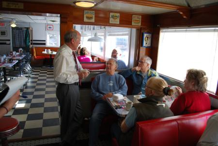 Welch listens to Vermonters at a Congress in Your Community event at Libby's Diner in Colchester.