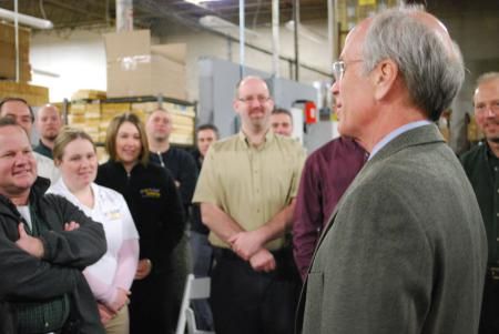 Welch tours GroSolar in White River Junction.