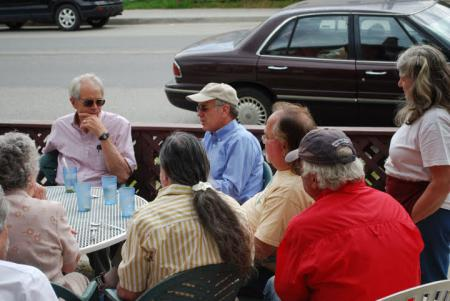 Welch holds a Congress in Your Community discussion at the Plum & Main Restaurant in Johnson.