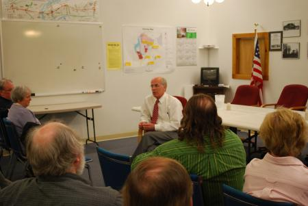 Welch leads a roundtable on the economy in Morrisville.