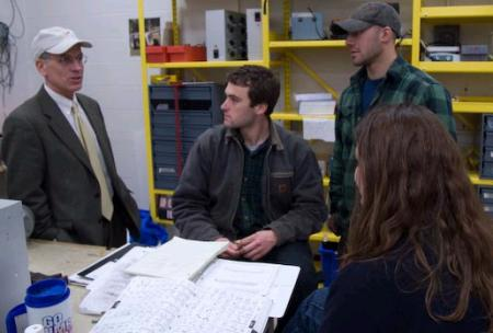 Welch talks with Vermont Technical College students.