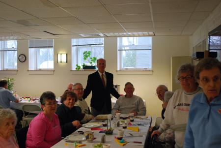 Welch stops by the Swanton Senior Center.